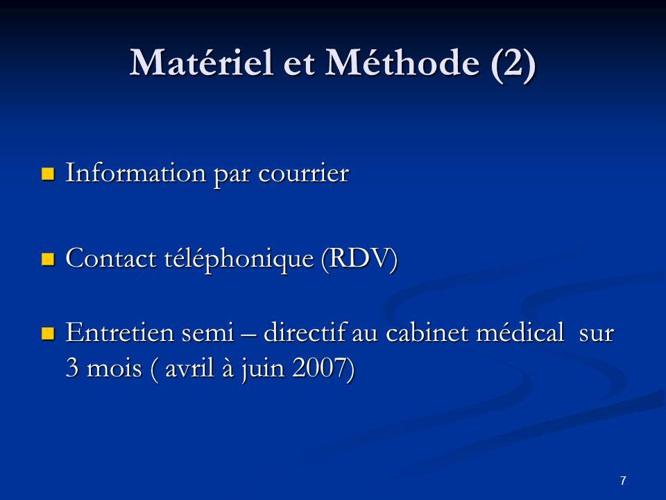 7 Matériel et Méthode (2) Information par courrier Information par courrier Contact téléphonique (RDV) Contact téléphonique (RDV) Entretien semi – dir