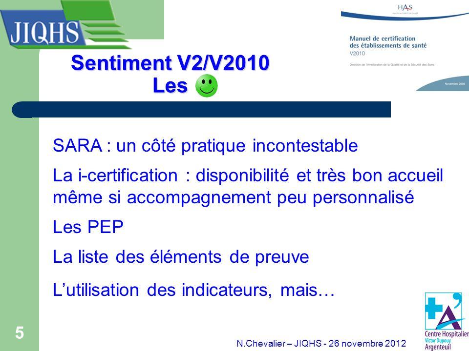 5 Sentiment V2/V2010 Les SARA : un côté pratique incontestable La i-certification : disponibilité et très bon accueil même si accompagnement peu perso