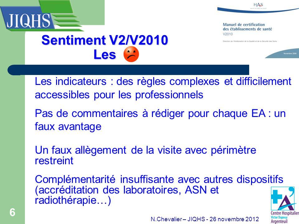 6 Sentiment V2/V2010 Les Les indicateurs : des règles complexes et difficilement accessibles pour les professionnels Pas de commentaires à rédiger pou