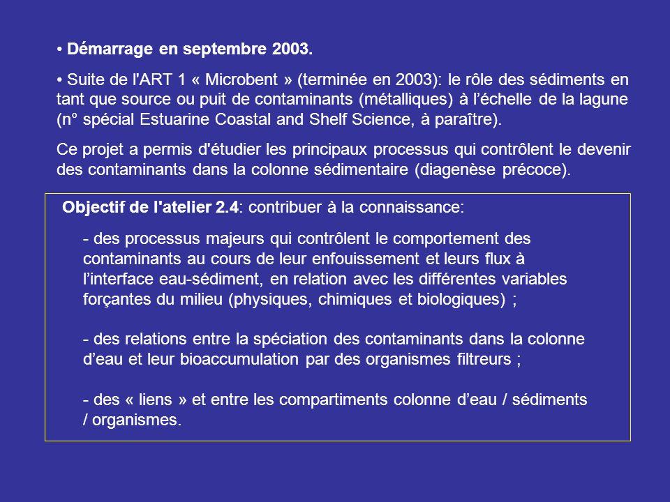 Démarrage en septembre 2003. Suite de l'ART 1 « Microbent » (terminée en 2003): le rôle des sédiments en tant que source ou puit de contaminants (méta