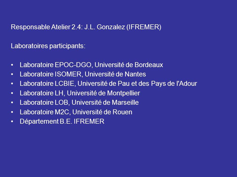 Responsable Atelier 2.4: J.L. Gonzalez (IFREMER) Laboratoires participants: Laboratoire EPOC-DGO, Université de Bordeaux Laboratoire ISOMER, Universit