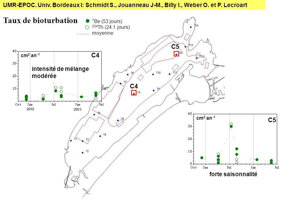C5 C4 Taux de bioturbation C5 cm 2 an -1 7 Be (53 jours) 234 Th (24.1 jours) moyenne forte saisonnalité intensité de mélange modérée UMR-EPOC. Univ. B