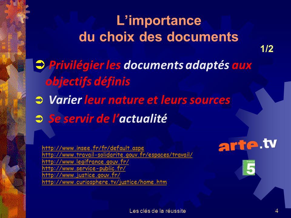 Les clés de la réussite4 Limportance du choix des documents Privilégier les documents adaptés aux objectifs définis Varier leur nature et leurs sources Se servir de lactualité 1/2 http://www.insee.fr/fr/default.aspe http://www.travail-solidarite.gouv.fr/espaces/travail/ http://www.legifrance.gouv.fr/ http://www.service-public.fr/ http://www.justice.gouv.fr/ http://www.curiosphere.tv/justice/home.htm