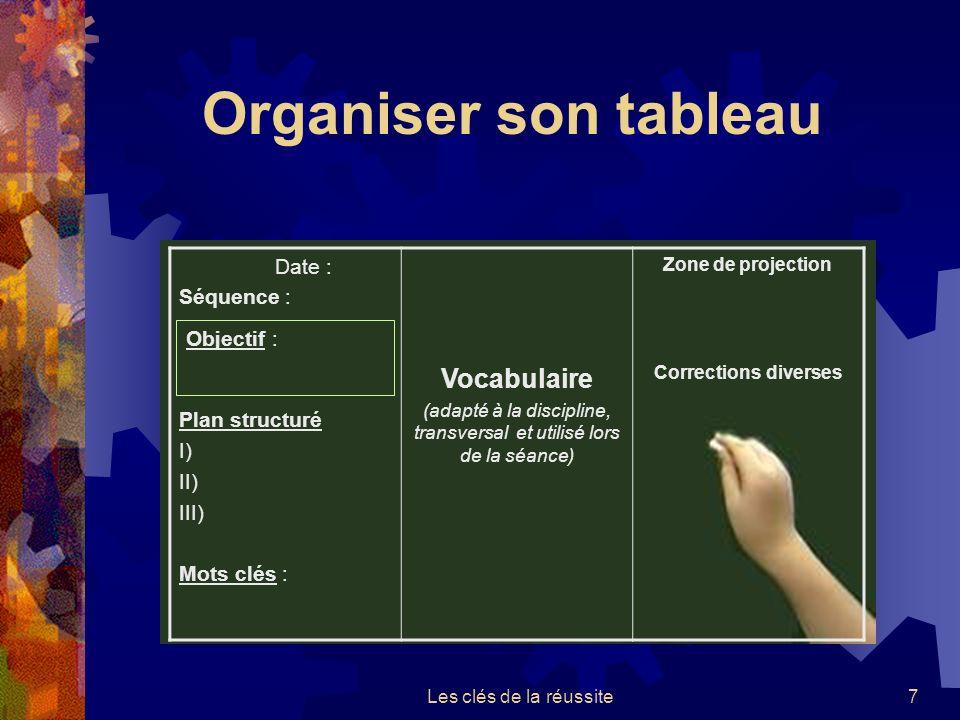 Les clés de la réussite6 La séquence pédagogique doit contenir: Les évaluations formatives Une évaluation sommative Activités QCM,… trace é crite dans