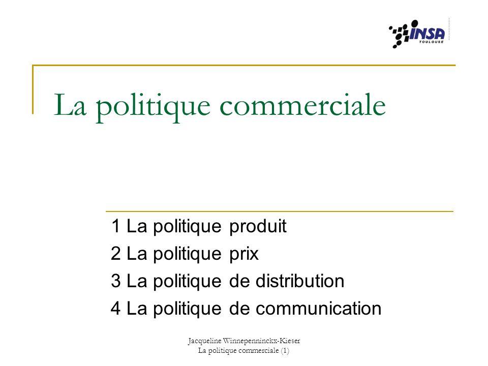 Jacqueline Winnepenninckx-Kieser La politique commerciale (1) I La politique produit 1 Le concept de produit 2 La qualité 3 Le design 4 Lemballage/le conditionnement 5 La marque 6 Notions de stratégie produit