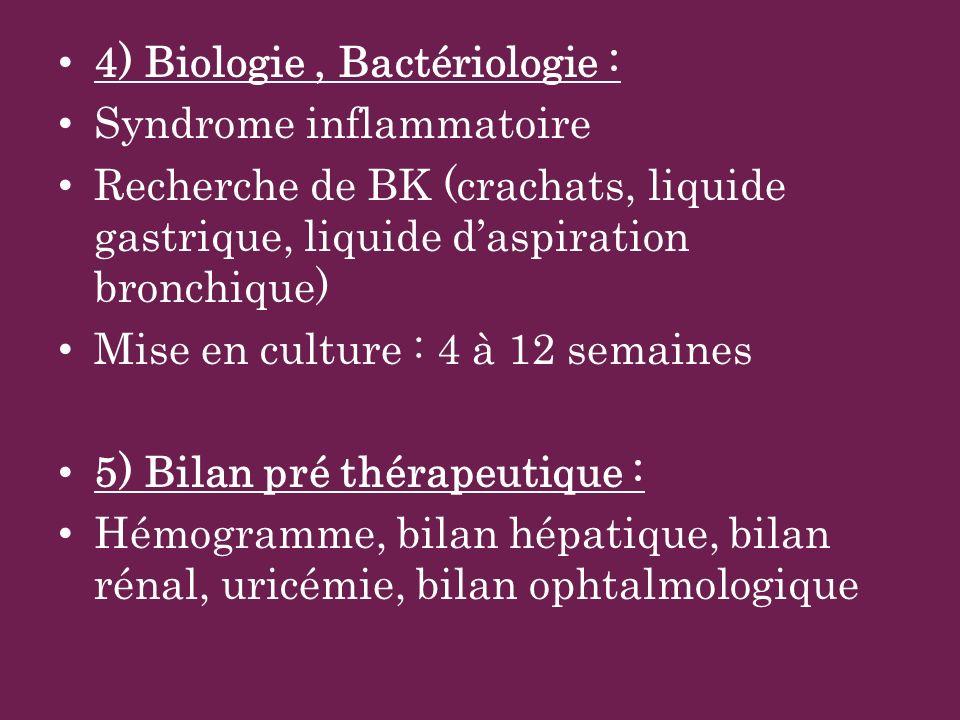 4) Biologie, Bactériologie : Syndrome inflammatoire Recherche de BK (crachats, liquide gastrique, liquide daspiration bronchique) Mise en culture : 4