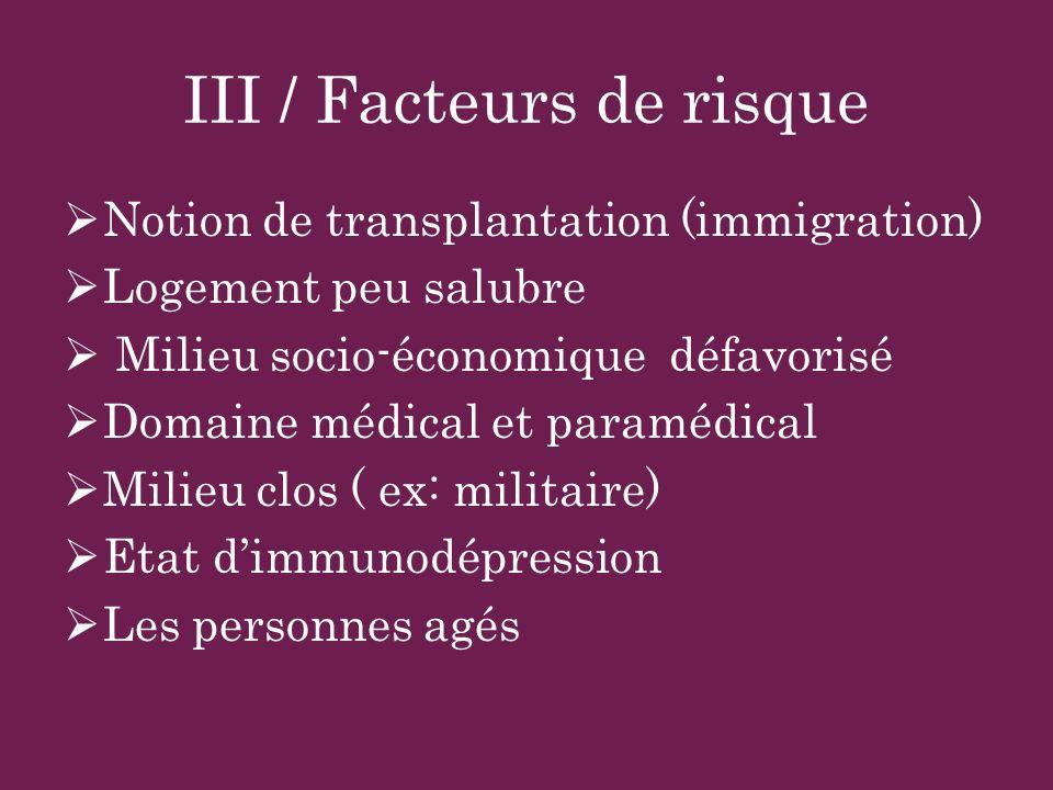 III / Facteurs de risque Notion de transplantation (immigration) Logement peu salubre Milieu socio-économique défavorisé Domaine médical et paramédica