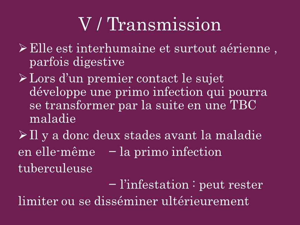 V / Transmission Elle est interhumaine et surtout aérienne, parfois digestive Lors dun premier contact le sujet développe une primo infection qui pour