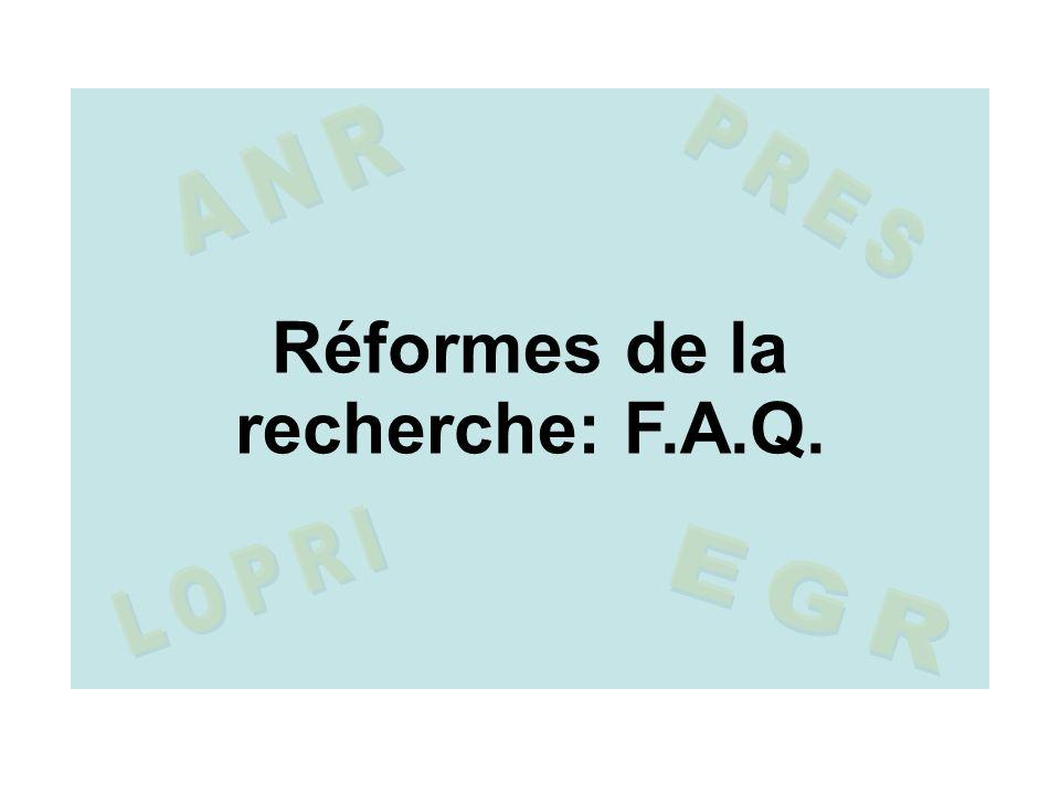Réformes de la recherche: F.A.Q.