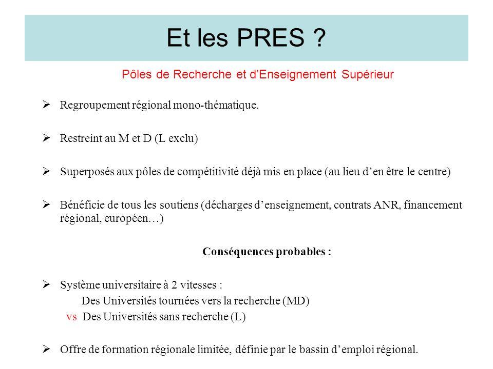 Et les PRES . Pôles de Recherche et dEnseignement Supérieur Regroupement régional mono-thématique.