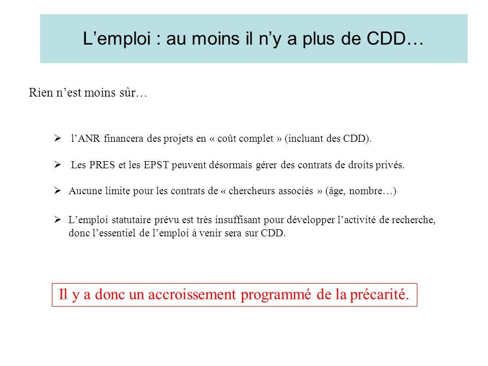 Lemploi : au moins il ny a plus de CDD… Rien nest moins sûr… lANR financera des projets en « coût complet » (incluant des CDD).