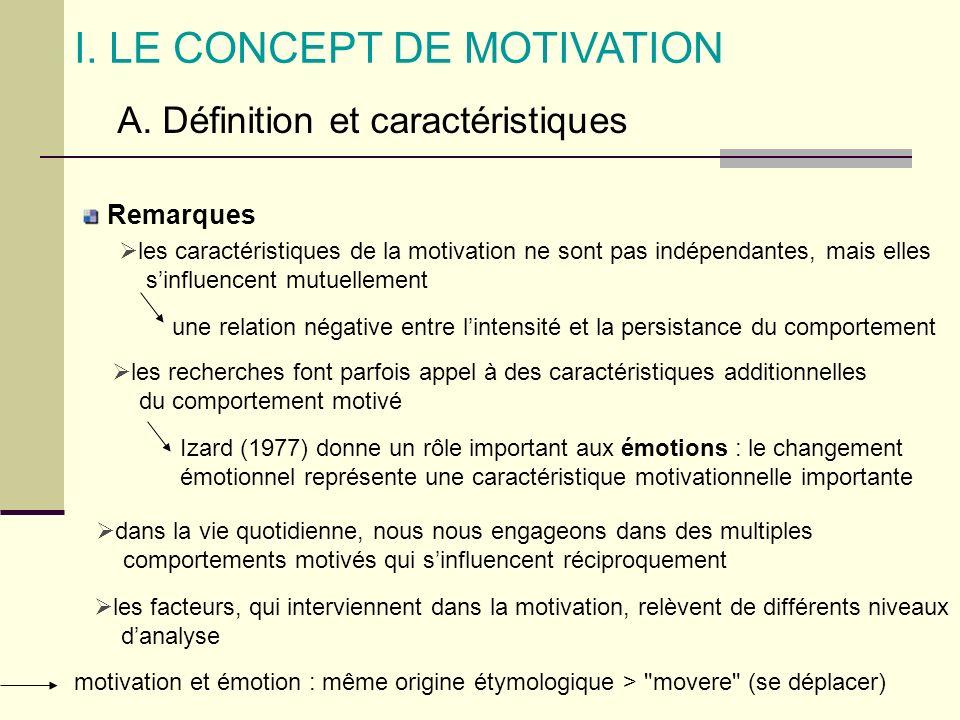 I. LE CONCEPT DE MOTIVATION A. Définition et caractéristiques Remarques les caractéristiques de la motivation ne sont pas indépendantes, mais elles si