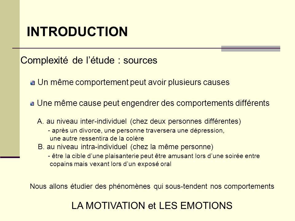 INTRODUCTION Un même comportement peut avoir plusieurs causes Une même cause peut engendrer des comportements différents A. au niveau inter-individuel
