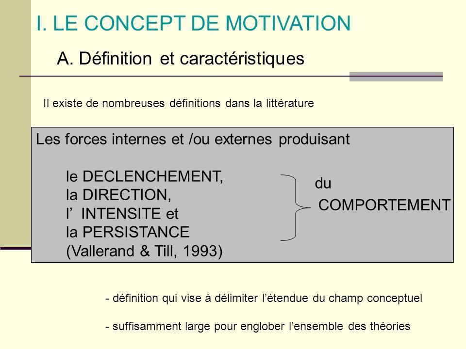 I. LE CONCEPT DE MOTIVATION A. Définition et caractéristiques Les forces internes et /ou externes produisant le DECLENCHEMENT, la DIRECTION, l INTENSI
