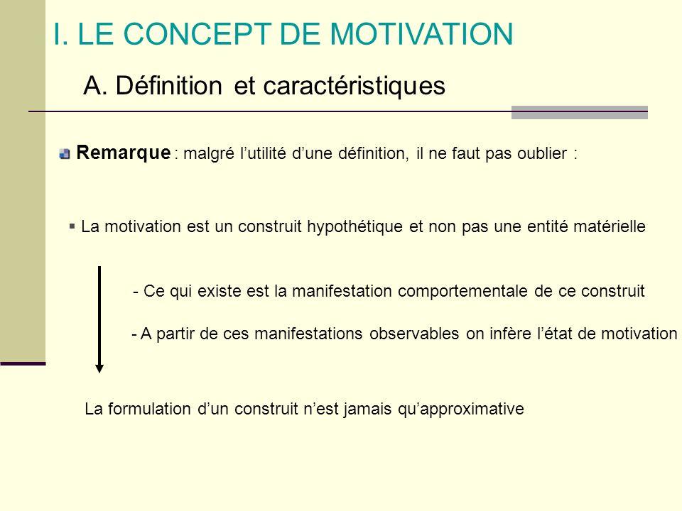 I. LE CONCEPT DE MOTIVATION A. Définition et caractéristiques La motivation est un construit hypothétique et non pas une entité matérielle - Ce qui ex