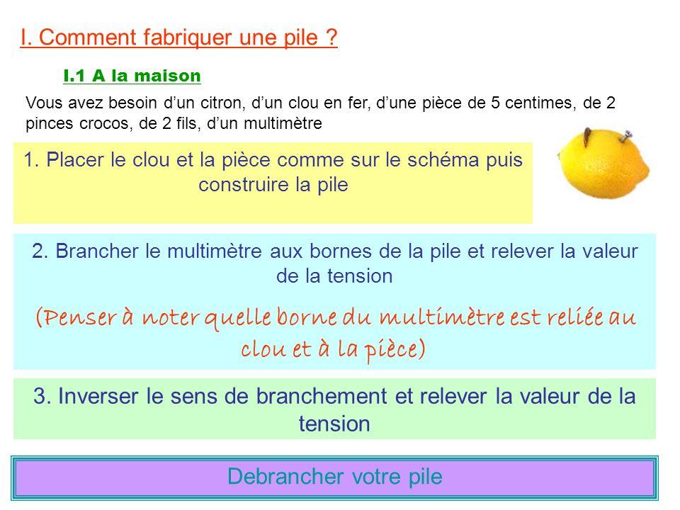I. Comment fabriquer une pile ? I.1 A la maison Vous avez besoin dun citron, dun clou en fer, dune pièce de 5 centimes, de 2 pinces crocos, de 2 fils,