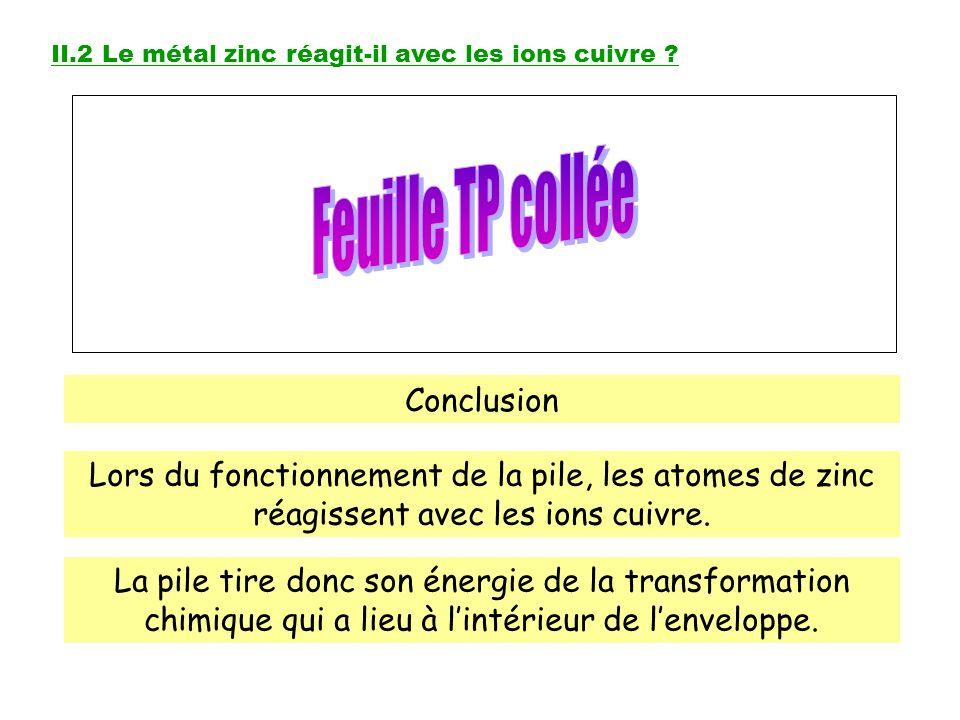 Léquation bilan de la transformation est : Zn + Cu 2+ Zn 2+ + Cu La consommation des réactifs au fur et à mesure que la pile fonctionne, entraîne lusure de la pile Rq : La transformation chimique produit aussi de lénergie thermique ou chaleur