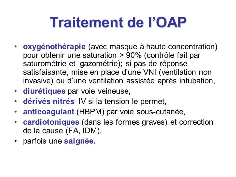 Traitement de lOAP oxygénothérapie (avec masque à haute concentration) pour obtenir une saturation > 90% (contrôle fait par saturométrie et gazométrie