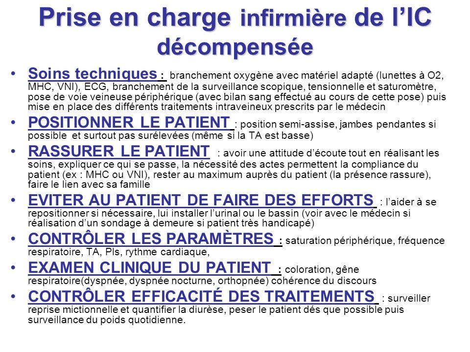 Prise en charge infirmière de lIC décompensée Soins techniques : branchement oxygène avec matériel adapté (lunettes à O2, MHC, VNI), ECG, branchement