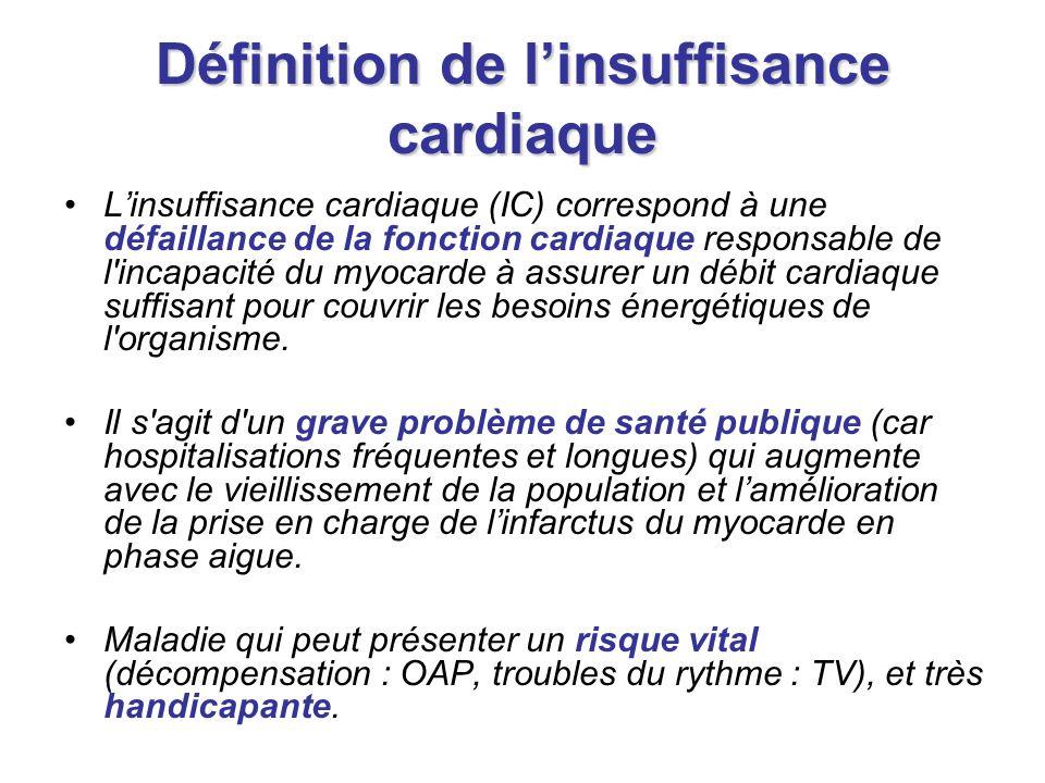 Définition de linsuffisance cardiaque Linsuffisance cardiaque (IC) correspond à une défaillance de la fonction cardiaque responsable de l'incapacité d