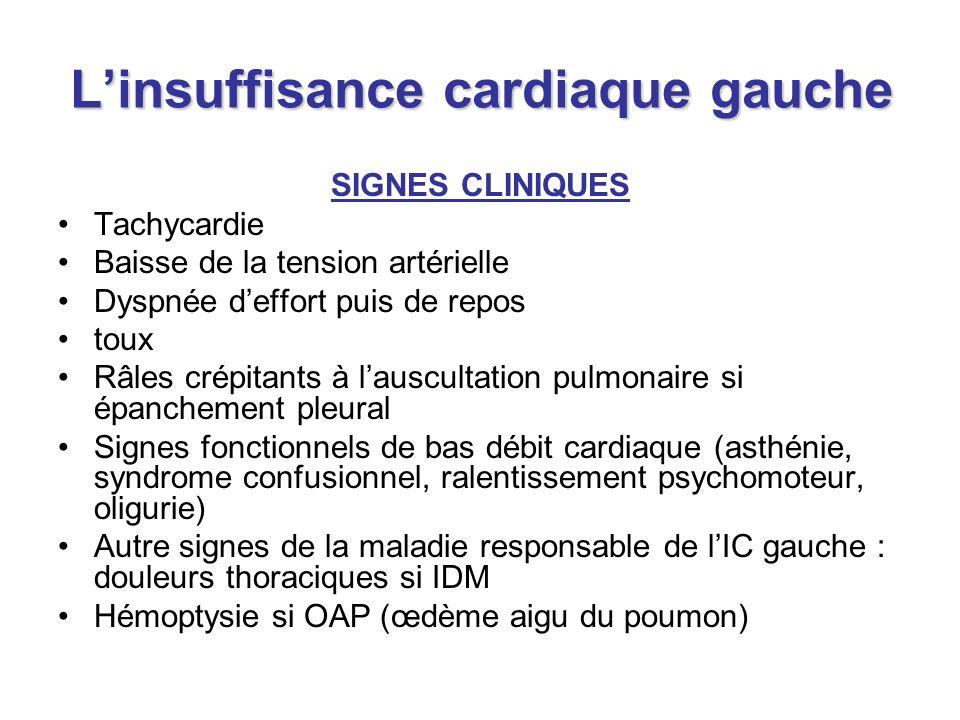 Linsuffisance cardiaque gauche SIGNES CLINIQUES Tachycardie Baisse de la tension artérielle Dyspnée deffort puis de repos toux Râles crépitants à laus