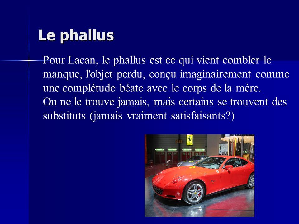 Le phallus Pour Lacan, le phallus est ce qui vient combler le manque, l'objet perdu, conçu imaginairement comme une complétude béate avec le corps de