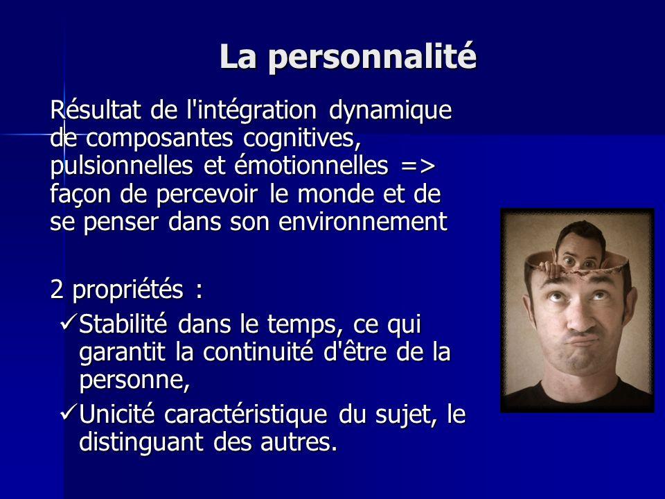 La personnalité Résultat de l'intégration dynamique de composantes cognitives, pulsionnelles et émotionnelles => façon de percevoir le monde et de se