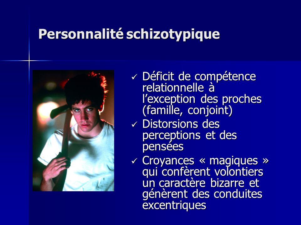 Personnalité schizotypique Déficit de compétence relationnelle à lexception des proches (famille, conjoint) Déficit de compétence relationnelle à lexc