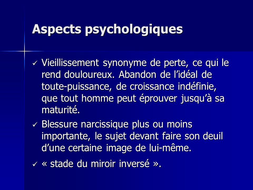 Aspects psychologiques Vieillissement synonyme de perte, ce qui le rend douloureux. Abandon de lidéal de toute-puissance, de croissance indéfinie, que