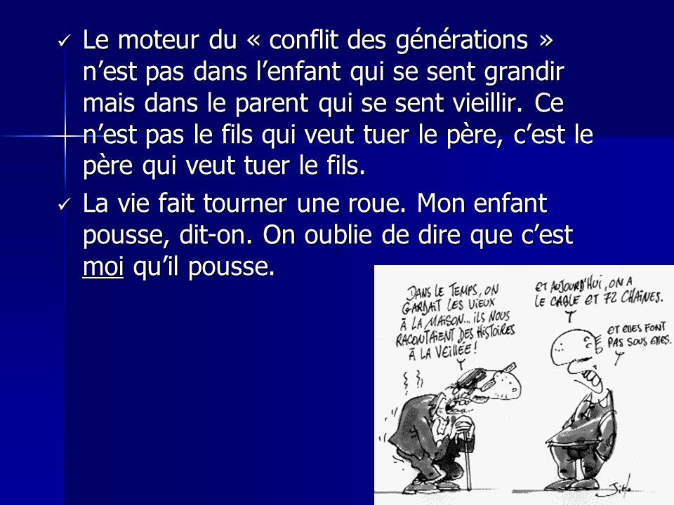 Le moteur du « conflit des générations » nest pas dans lenfant qui se sent grandir mais dans le parent qui se sent vieillir. Ce nest pas le fils qui v