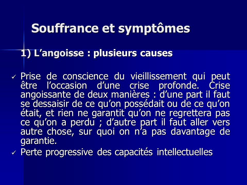 Souffrance et symptômes 1) Langoisse : plusieurs causes Prise de conscience du vieillissement qui peut être loccasion dune crise profonde. Crise angoi