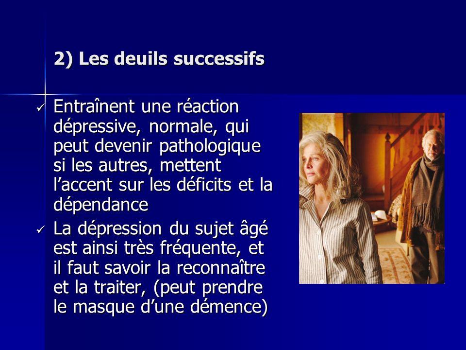 2) Les deuils successifs Entraînent une réaction dépressive, normale, qui peut devenir pathologique si les autres, mettent laccent sur les déficits et