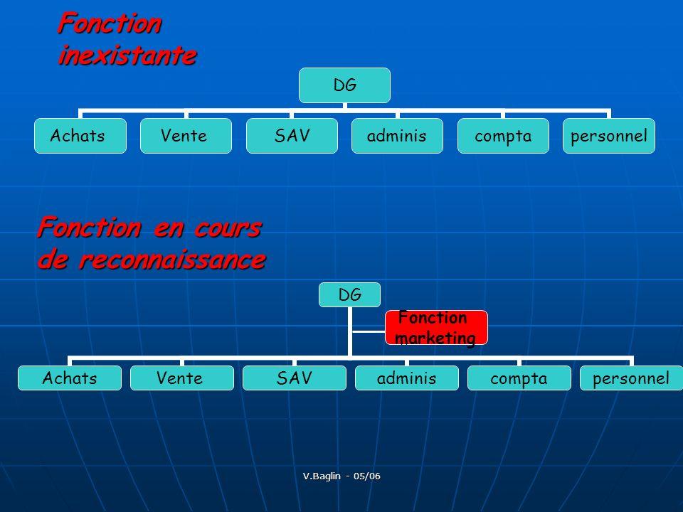 V.Baglin - 05/06 Fonction inexistante DG AchatsVenteSAVadminiscomptapersonnel Fonction en cours de reconnaissance DG AchatsVenteSAVadminiscomptaperson