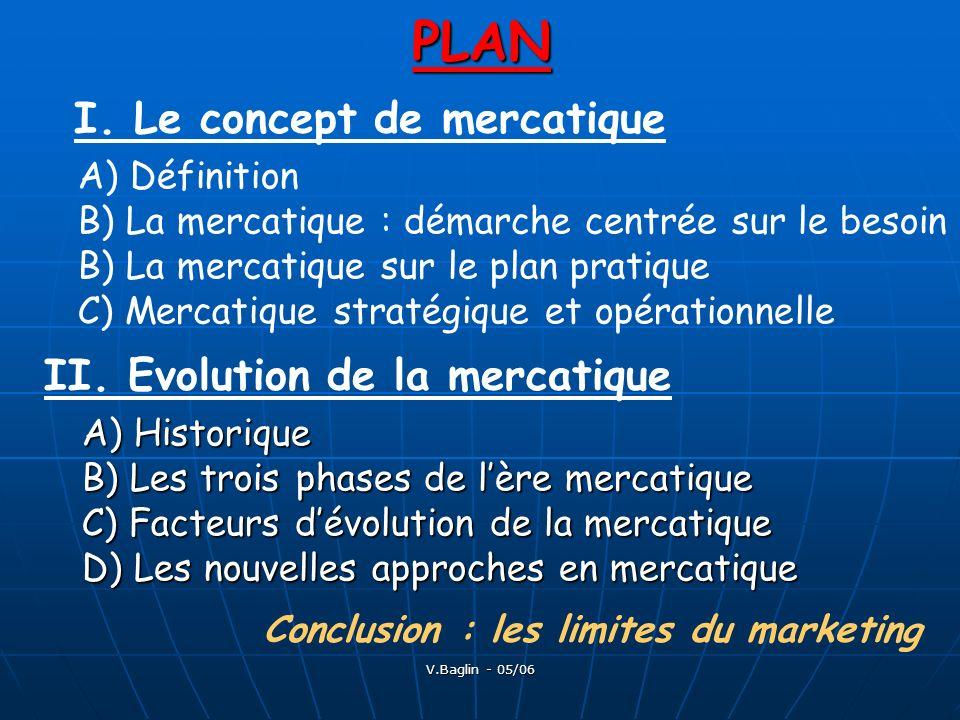 V.Baglin - 05/06PLAN I. Le concept de mercatique A) Définition B) La mercatique : démarche centrée sur le besoin B) La mercatique sur le plan pratique