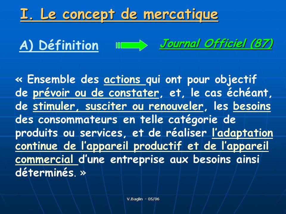 V.Baglin - 05/06 I. Le concept de mercatique A) Définition Journal Officiel (87) « Ensemble des actions qui ont pour objectif de prévoir ou de constat