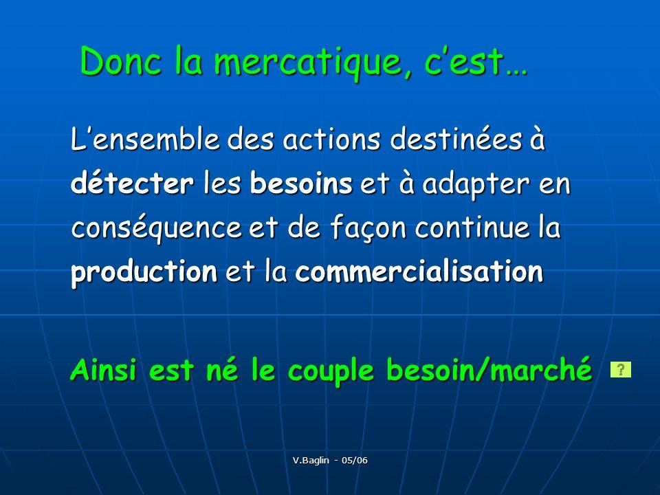 V.Baglin - 05/06 2) Caractéristique de la mercatique individualisée ou relationnelle Nécessité face à la saturation des marchés, les changements de comportement des consommateur Nécessité face à la saturation des marchés, les changements de comportement des consommateur La mercatique individualisée est une mercatique relationnelle ou mercatique de fidélisation La mercatique individualisée est une mercatique relationnelle ou mercatique de fidélisation Elaboration dune offre personnalisée (hypersegmentée), différenciée et intégrant une forte dimension de service Elaboration dune offre personnalisée (hypersegmentée), différenciée et intégrant une forte dimension de service