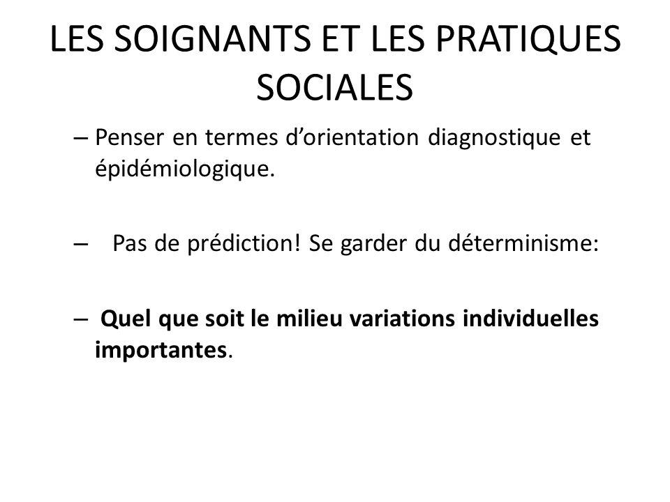 LES SOIGNANTS ET LES PRATIQUES SOCIALES – Penser en termes dorientation diagnostique et épidémiologique. – Pas de prédiction! Se garder du déterminism