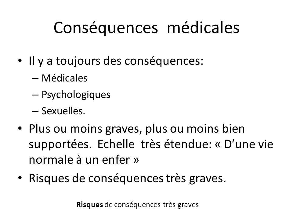 Conséquences médicales Il y a toujours des conséquences: – Médicales – Psychologiques – Sexuelles. Plus ou moins graves, plus ou moins bien supportées