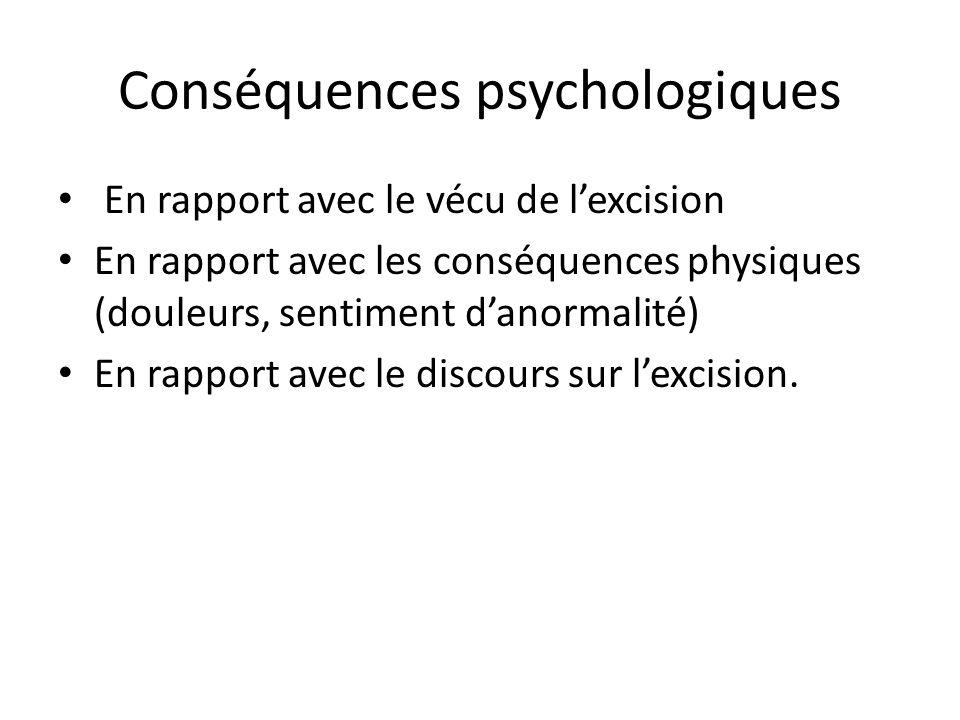 Conséquences psychologiques En rapport avec le vécu de lexcision En rapport avec les conséquences physiques (douleurs, sentiment danormalité) En rappo