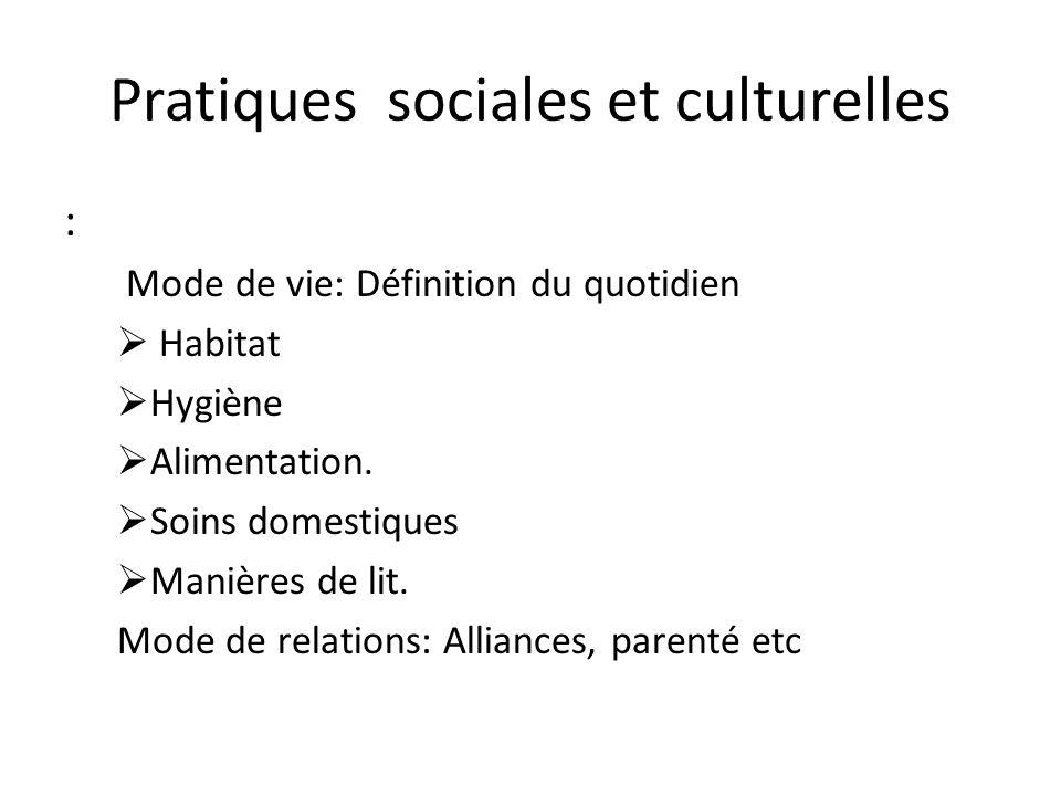 Pratiques sociales et culturelles : Mode de vie: Définition du quotidien Habitat Hygiène Alimentation. Soins domestiques Manières de lit. Mode de rela