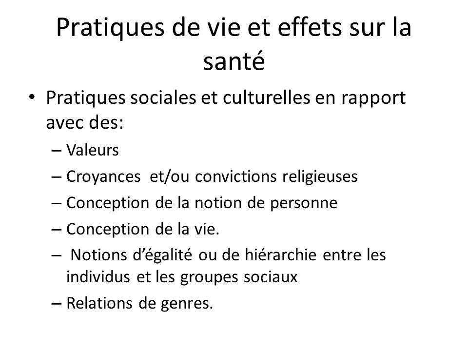 Pratiques de vie et effets sur la santé Pratiques sociales et culturelles en rapport avec des: – Valeurs – Croyances et/ou convictions religieuses – C