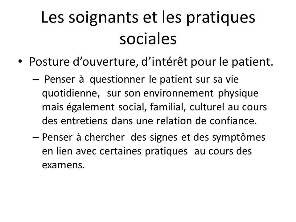 Les soignants et les pratiques sociales Posture douverture, dintérêt pour le patient. – Penser à questionner le patient sur sa vie quotidienne, sur so