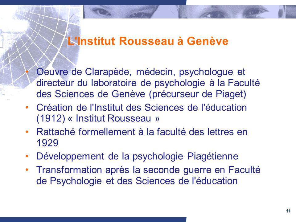11 L'Institut Rousseau à Genève Oeuvre de Clarapède, médecin, psychologue et directeur du laboratoire de psychologie à la Faculté des Sciences de Genè