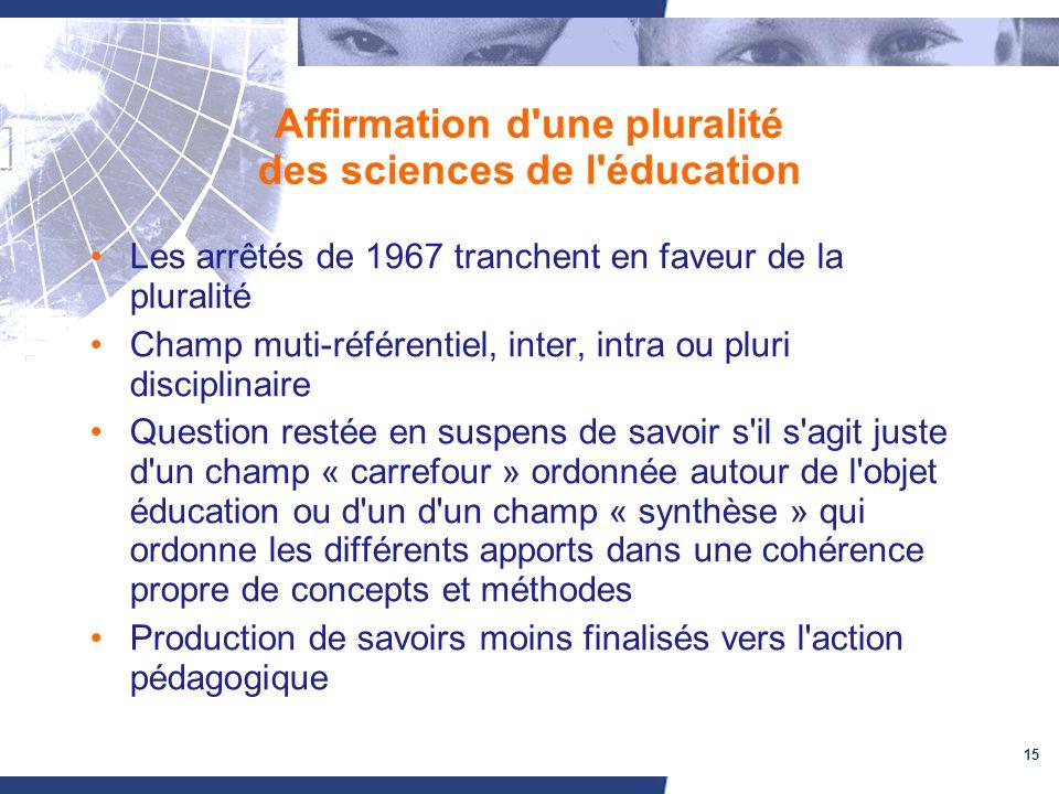 15 Affirmation d'une pluralité des sciences de l'éducation Les arrêtés de 1967 tranchent en faveur de la pluralité Champ muti-référentiel, inter, intr