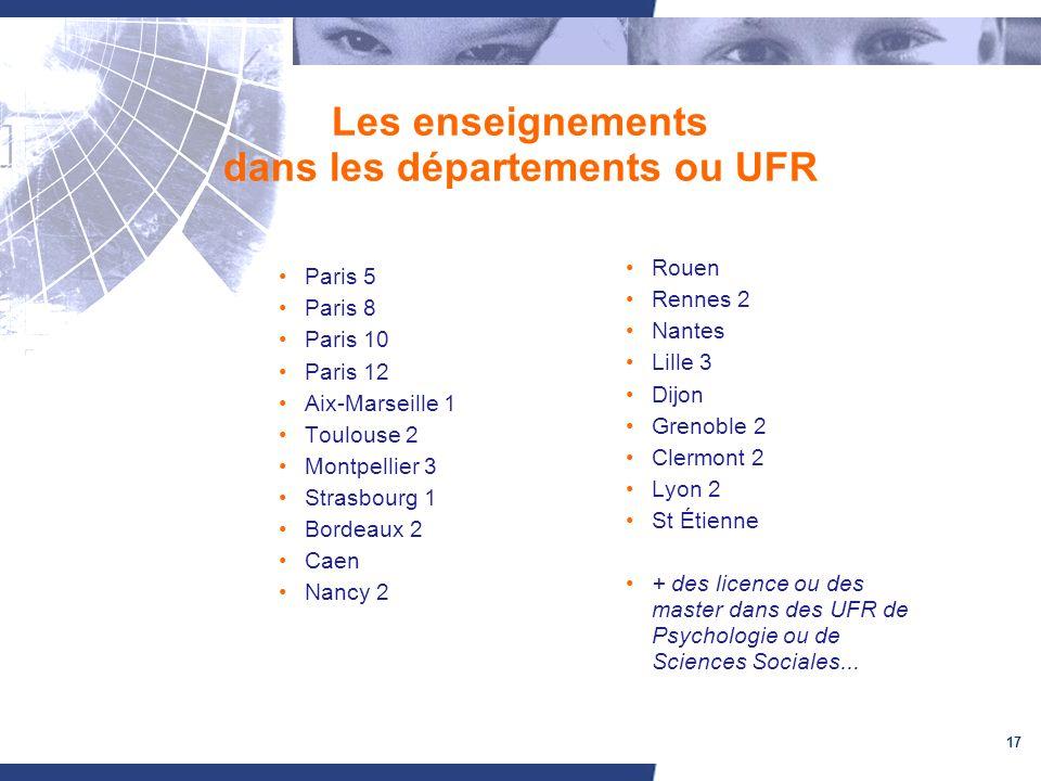 17 Les enseignements dans les départements ou UFR Paris 5 Paris 8 Paris 10 Paris 12 Aix-Marseille 1 Toulouse 2 Montpellier 3 Strasbourg 1 Bordeaux 2 C