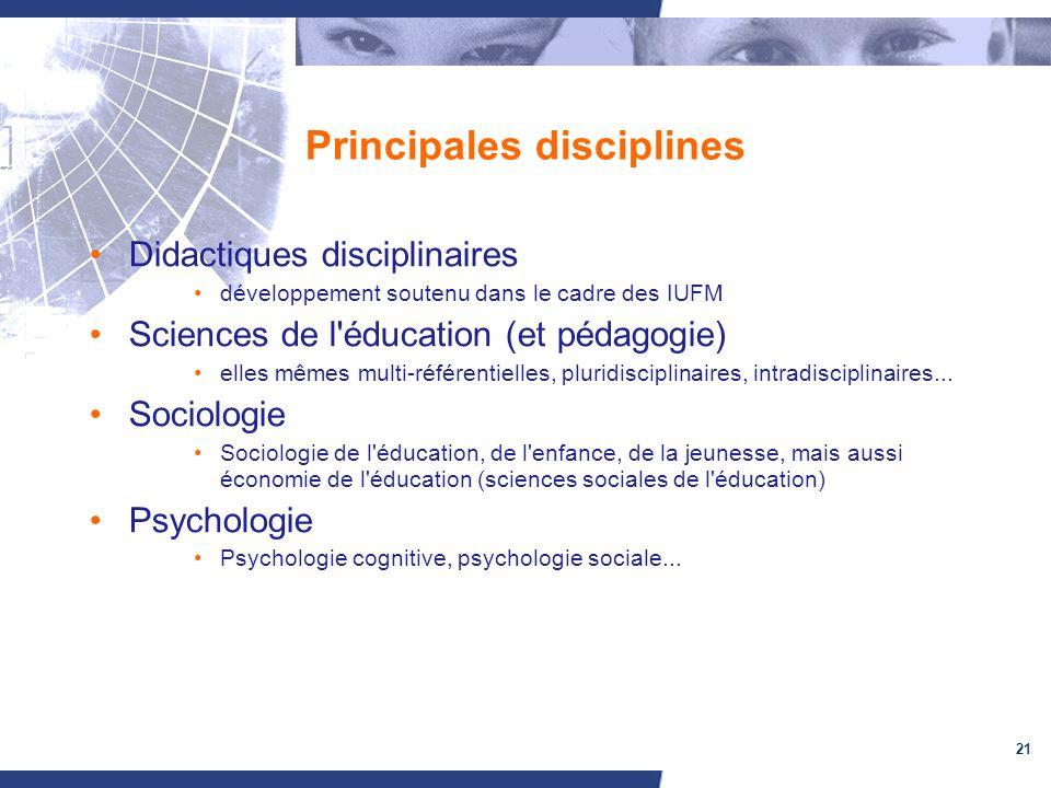 21 Principales disciplines Didactiques disciplinaires développement soutenu dans le cadre des IUFM Sciences de l'éducation (et pédagogie) elles mêmes