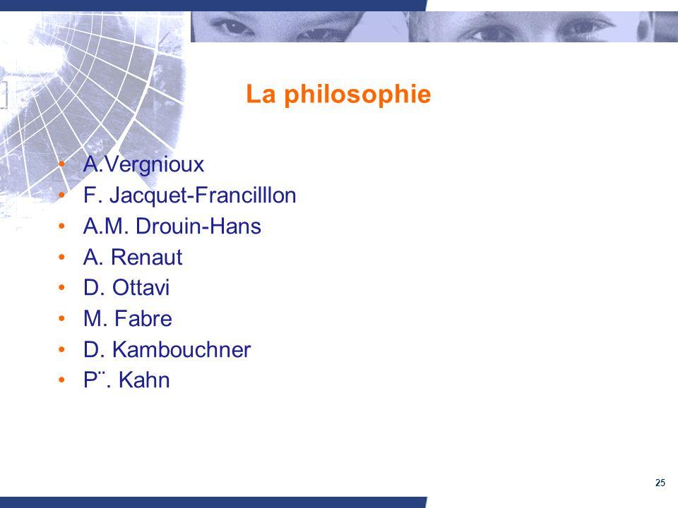 25 La philosophie A.Vergnioux F. Jacquet-Francilllon A.M. Drouin-Hans A. Renaut D. Ottavi M. Fabre D. Kambouchner P¨. Kahn