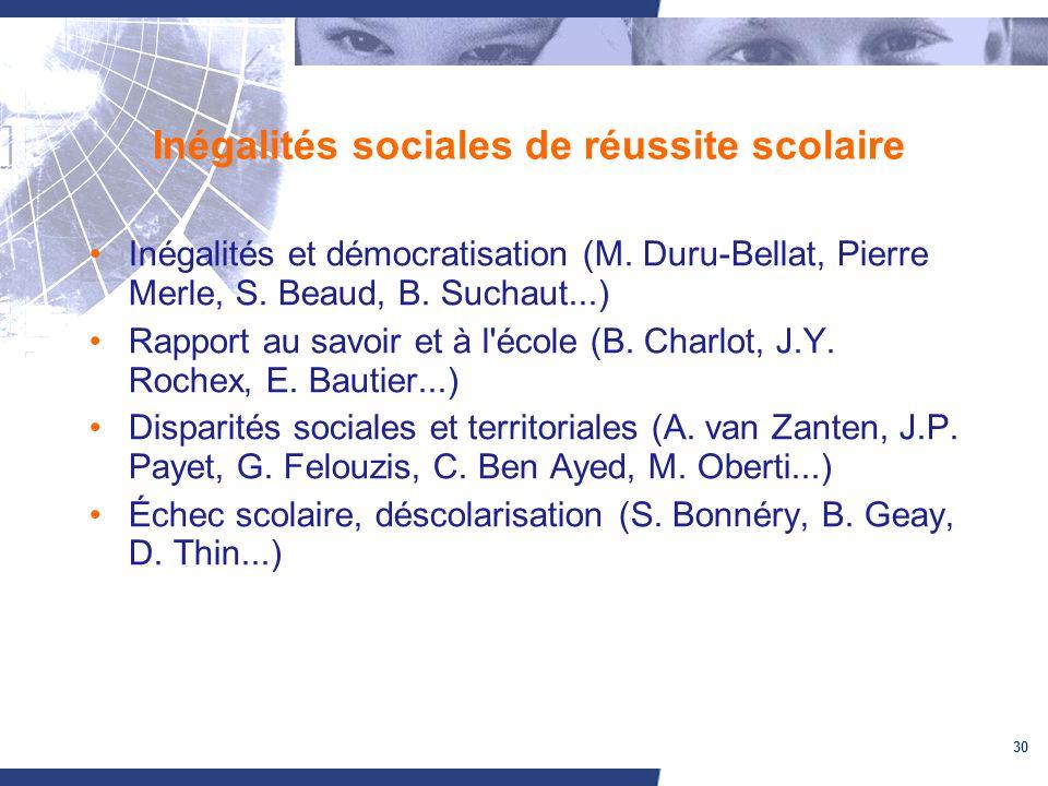 30 Inégalités sociales de réussite scolaire Inégalités et démocratisation (M. Duru-Bellat, Pierre Merle, S. Beaud, B. Suchaut...) Rapport au savoir et