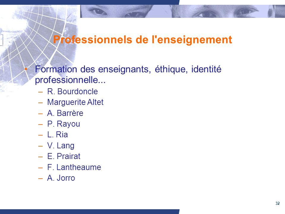 32 Professionnels de l'enseignement Formation des enseignants, éthique, identité professionnelle... –R. Bourdoncle –Marguerite Altet –A. Barrère –P. R