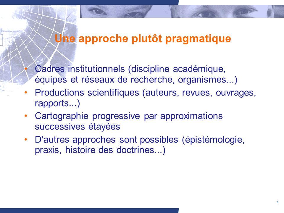 4 Une approche plutôt pragmatique Cadres institutionnels (discipline académique, équipes et réseaux de recherche, organismes...) Productions scientifi